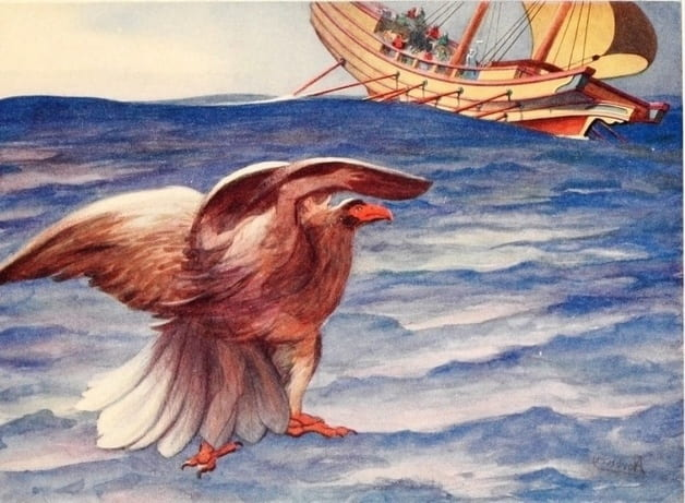 """He cried ""Eagle!"" and became an eagle, and flew into the ship."" Illustration by Edwin Norbury, published in Greek Wonder Tales by Lucy Mary Jane Garnett (1913), A. and. C. Black."