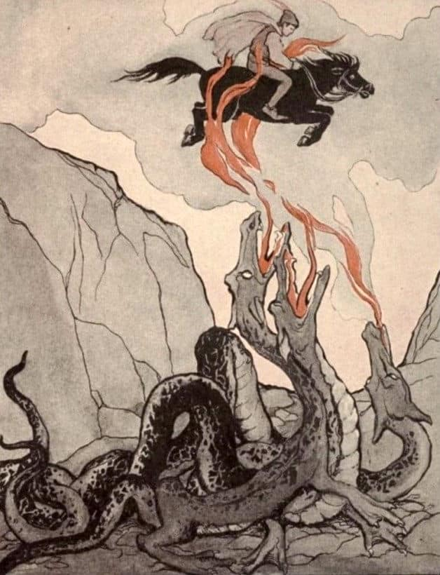 """The serpents reared up and opened their fiery jaws."" Illustration by Katharine Pyle, published in Fairy Tales from Far and Near by Katharine Pyle (1922), Little, Brown, and Company."