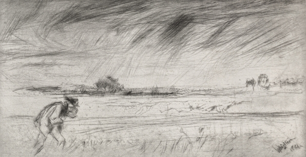 Man struggles against the wind in a field as illustrated by John Whistler.