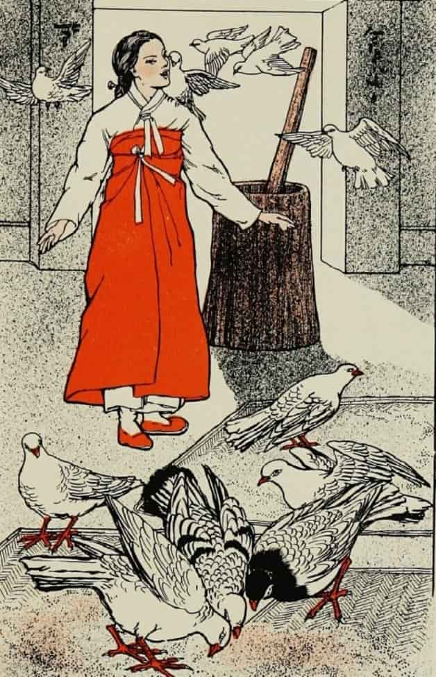 """""""She heard a whir and a rush of wings."""" Illustration by unknown artist, published in The Unmannerly Tiger and other Korean Tales by William Elliot Griffis (1911), Thomas Y. Crowell Company."""