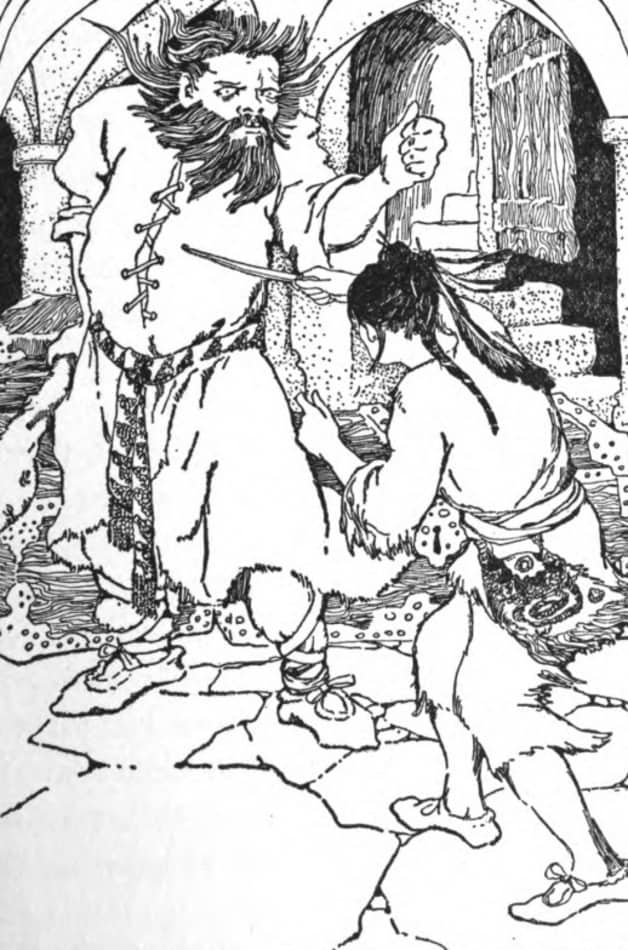 """""""For a long time they fought."""" Illustration by M.H. Squire, published in Fairy Tales from Folk lore by Wilbur Hershel Williams (1908), Moffat, Yard & Company."""