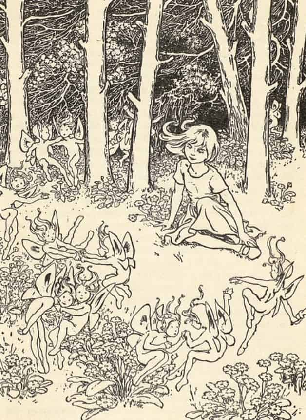The girl gazes on the fairies frolicking about.