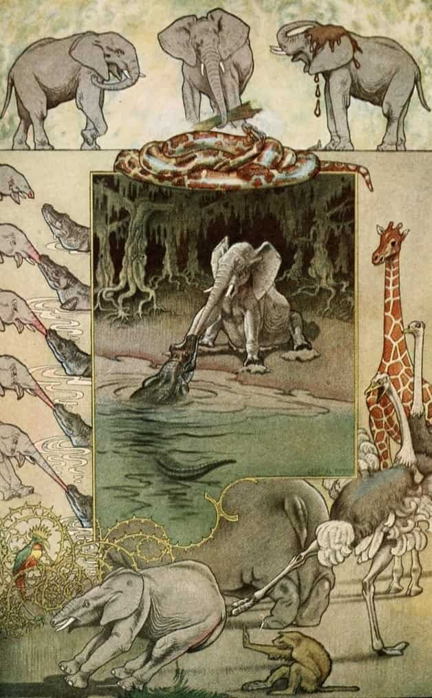 """The elephant's child."" Illustration by Joseph Gleeson, published in Just So Stories by Rudyard Kipling, 1912, Doubleday & Co."