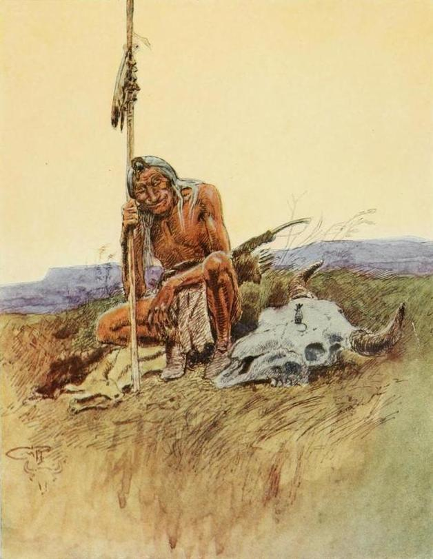 """Yes -- the Mice-people always make their nests in the heads of the dead Buffalo-people, every since that night."" Illustration by Charles M. Russell, published in Indian Why Stories: Sparks from War Eagle's Lodge Fire by Frank B. Linderman (1915), Charles Scribner's Sons."