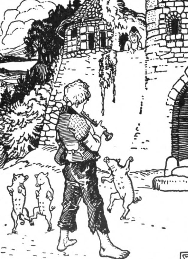 The young lady comes to the castle wall to look at the pigs.