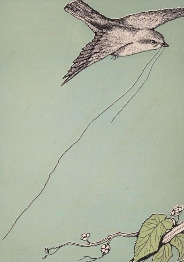 A sparrow flies back to his nest in this illustration by Leon Foster Jones